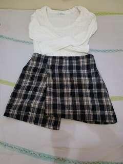 Plaid Mini Skirt dari Korea