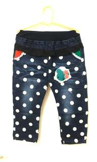 Polka dot denim Capri Pants