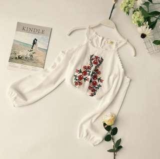 [PO] Uzzlang Floral Embroidery Cold Shoulder Top