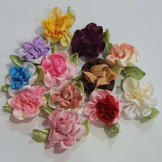 2-tone Satin Ribbon Flower Appliques
