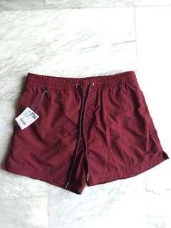 Pull & Bear maroon swimming trunks shorts