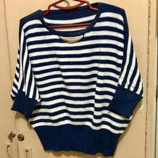 Striped Knitted Batwing Top