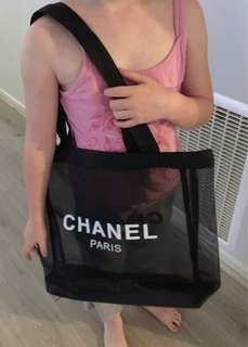 Chanel vip tote bag with black strap