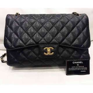 Chanel classic jumbo double flap caviar black bag