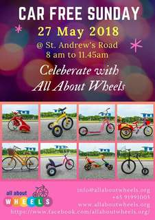 We are back. Celebrate this CAR FREE SUNDAY with All About Wheels