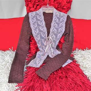 ALANNAH HILL Pink Brown Floral Lace Eyelet Cardigan Jacket - NEW