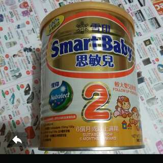 100%NEW SNOW Brand Nutratect - Smart Baby 2  for 6m+ 300g DHA & ARA Follow Up Formula Milk Power  雪印 思敏兒 6個月或以上 嬰幼兒奶粉