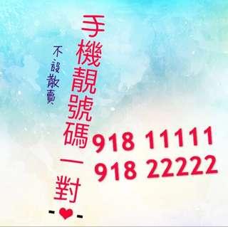 完美手機電話靚號碼一對,918 11111;918 22222