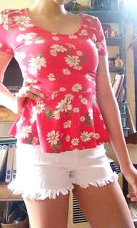 F21 red floral peplum