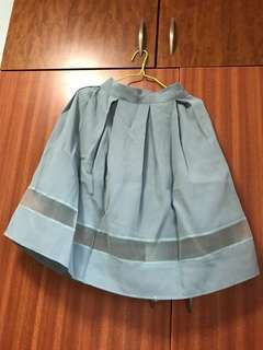 Skirt 網購韓國裙 藍色 裙腳透視款 橡筋腰