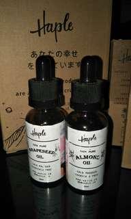 Grapeseed oil & Almond oil (haple)