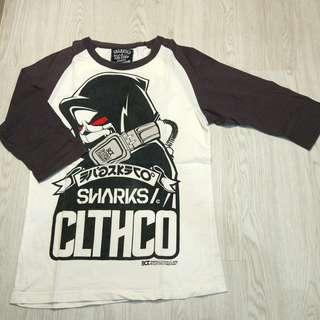 Sharks Co white grey t-shirt 1/2 sleeve