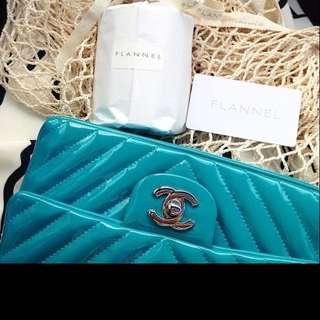 Authentic turquoise Chanel chevron Mini Bag