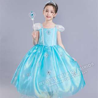 New Frozen Princess Elsa Short Sleeve Costume Cosplay Dress 4-12y