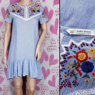 ZaraEmbroidered Pinstripe Shift Dress - new w/o tag