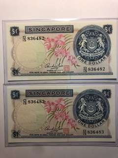 1 pair is Singapore orchid $1 HSS w/seal running number UNC