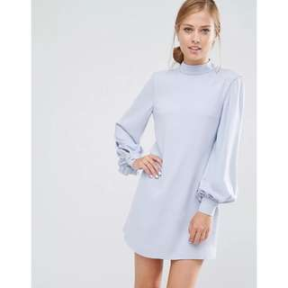 European Lantern Long Sleeves High-Neck A-Line Dress