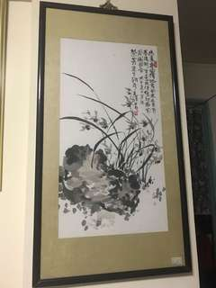 Vintage Chinese Painting  56c m x 104 c m