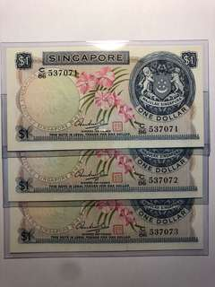 3 pcs of Singapore Orchid $1 HSS w/seal $1 running number UNC