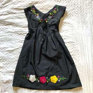 Embroidered Floral black dress