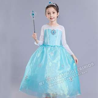 New Frozen Princess Elsa Long Sleeve Costume Cosplay Dress 4-12y