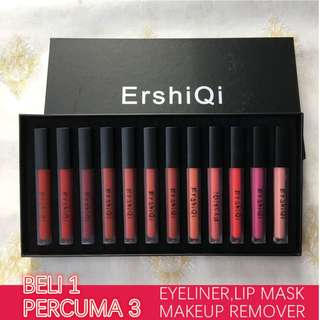 Korea Lip Gloss 12 batang set, Percuma eyeliner, makeup remover dan lip mask