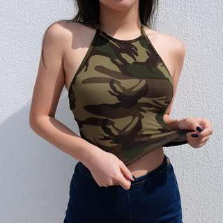 army camo cami tank backless tie up crop top streetwear hypewear