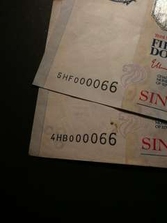 Fancy Number and Low Serials Number 000066