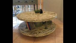Wooden spool coffee tables