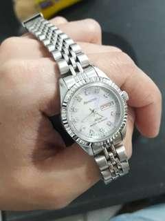 ARMITRON metal watch w/ swarovzki crystals