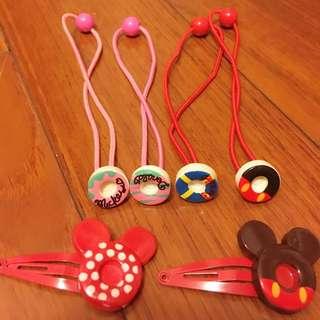 日本🇯🇵迪士尼樂園 甜甜圈🍩髮帶*4+ 米奇髮夾*2