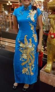 Blue and Gold Qipao Cheongsam