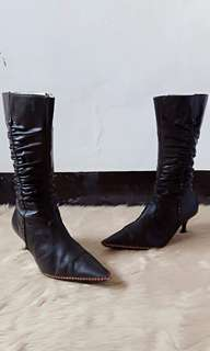 Brown mid- calf boots