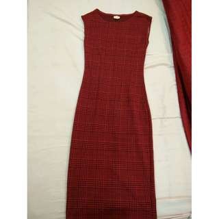 Red Checkered Bodycon Dress
