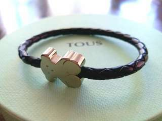 [New] TOUS icon bear leather/stainless steel bracelet