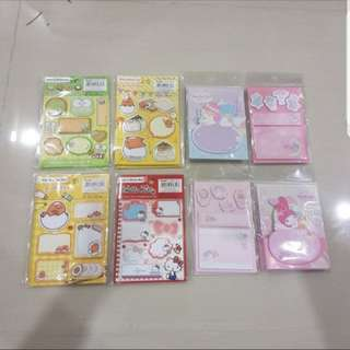 In stock sanrio kerokerokeroppi gudetama little twin stars my melody hello kitty post it memo pad
