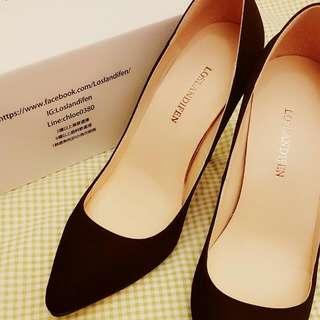 歐美 啞光 磨砂 黑色 細跟 尖頭 高跟鞋