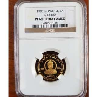 Nepal 1995 Buddha 1/4 oz Gold NGC PF69 ULTRA CAMEO