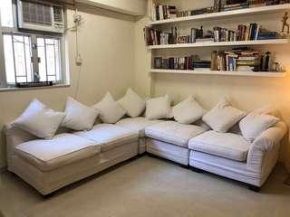L-shaped Fabric Sofa with Ottoman (Tequila Kola)