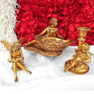 LIFESTYLE SYDNEY Vintage Gold Gilt Art Sculpture Set of 2 - NEW