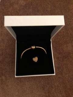 Pandora Shine 18K bracelet and charm