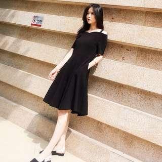 Black Off Shoulder Strap Dress