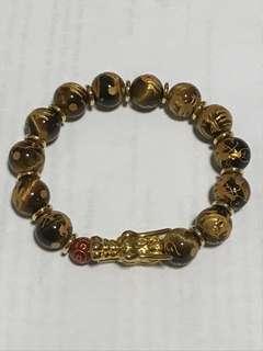 Dragon head gold plated with tiger eye bracelet (镀金龙头虎眼手镯)