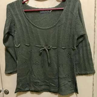 Olive Green Knitted Blouse