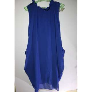 Feminine Sleeveless Blue Chiffon Blouse #3