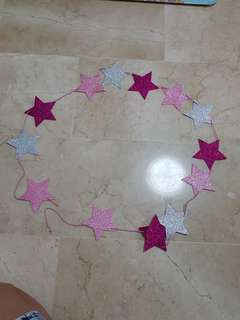 Party decorations (left with 2 string of stars)