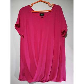 Short Sleeve Chiffon Round Neck Red Blouse #4