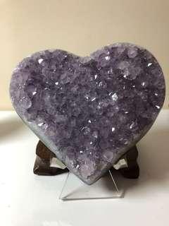 烏拉圭紫水晶拋光大愛心