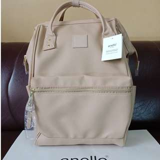 ANELLO JAPAN EXCLUSIVE unisex synthetic leather fullsized backpack (limited edition) cream