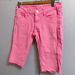 Korean style Baby pink / White half jeans